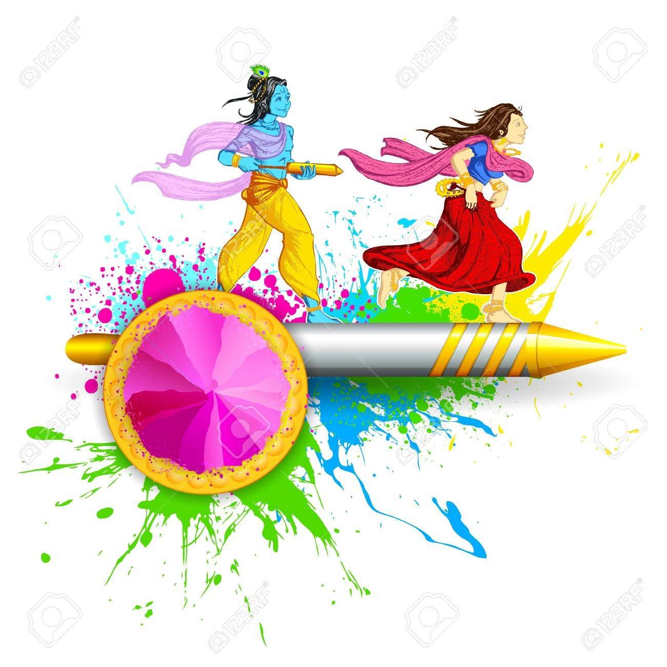 illustration of Radha and Lord Krishna playing Holi Stock Vector - 18089730