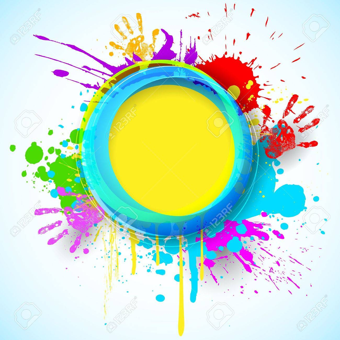 Illustration Of Holi Background With Hand Print And Colorful ...