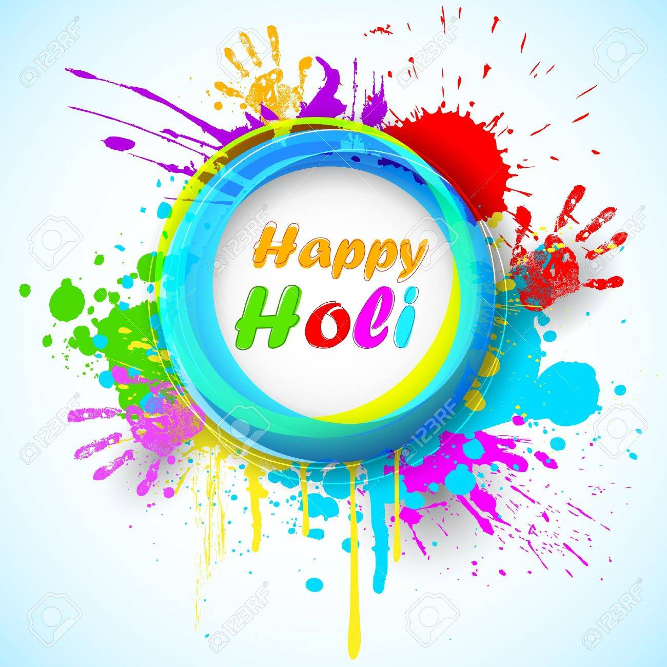 illustration of holi background with hand print and colorful grunge Stock Vector - 18366042