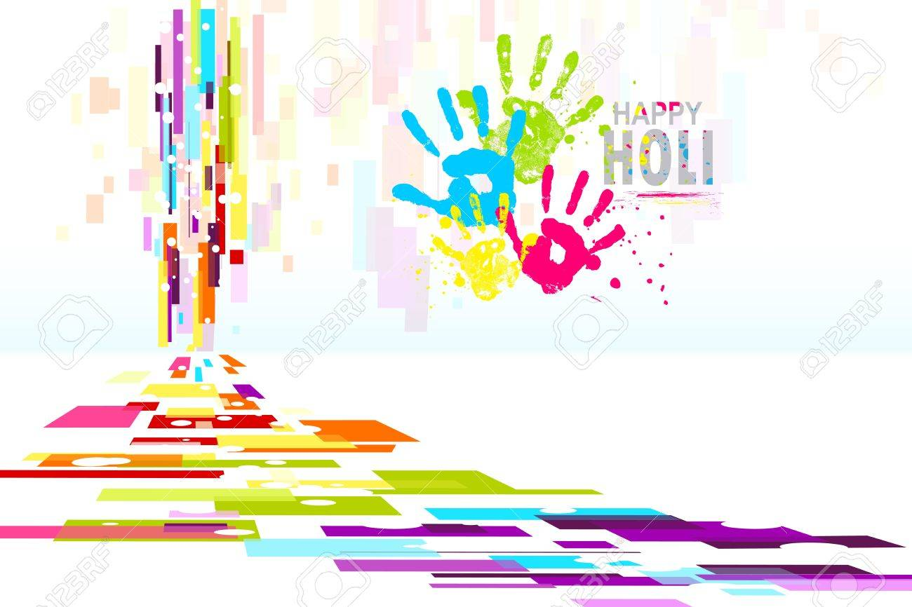 illustration of Holi wallpaper with colorful hand prints Stock Vector - 18404613