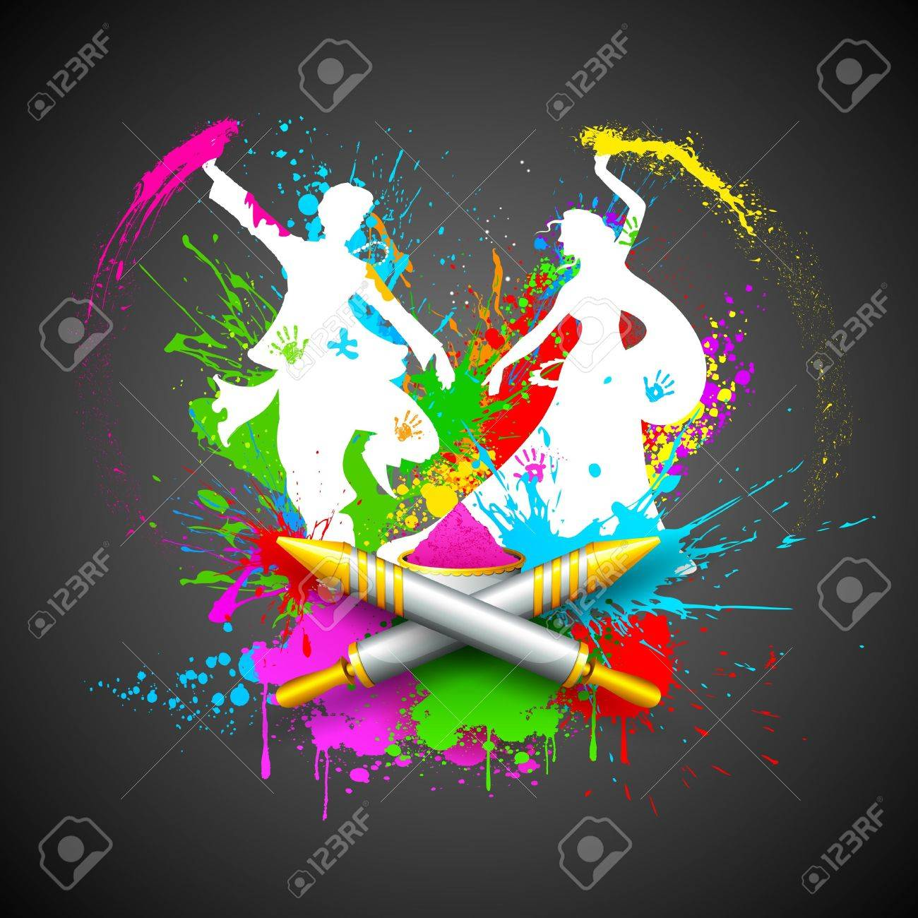 illustration of couple playing Holi with color and pichkari Stock Vector - 18439140