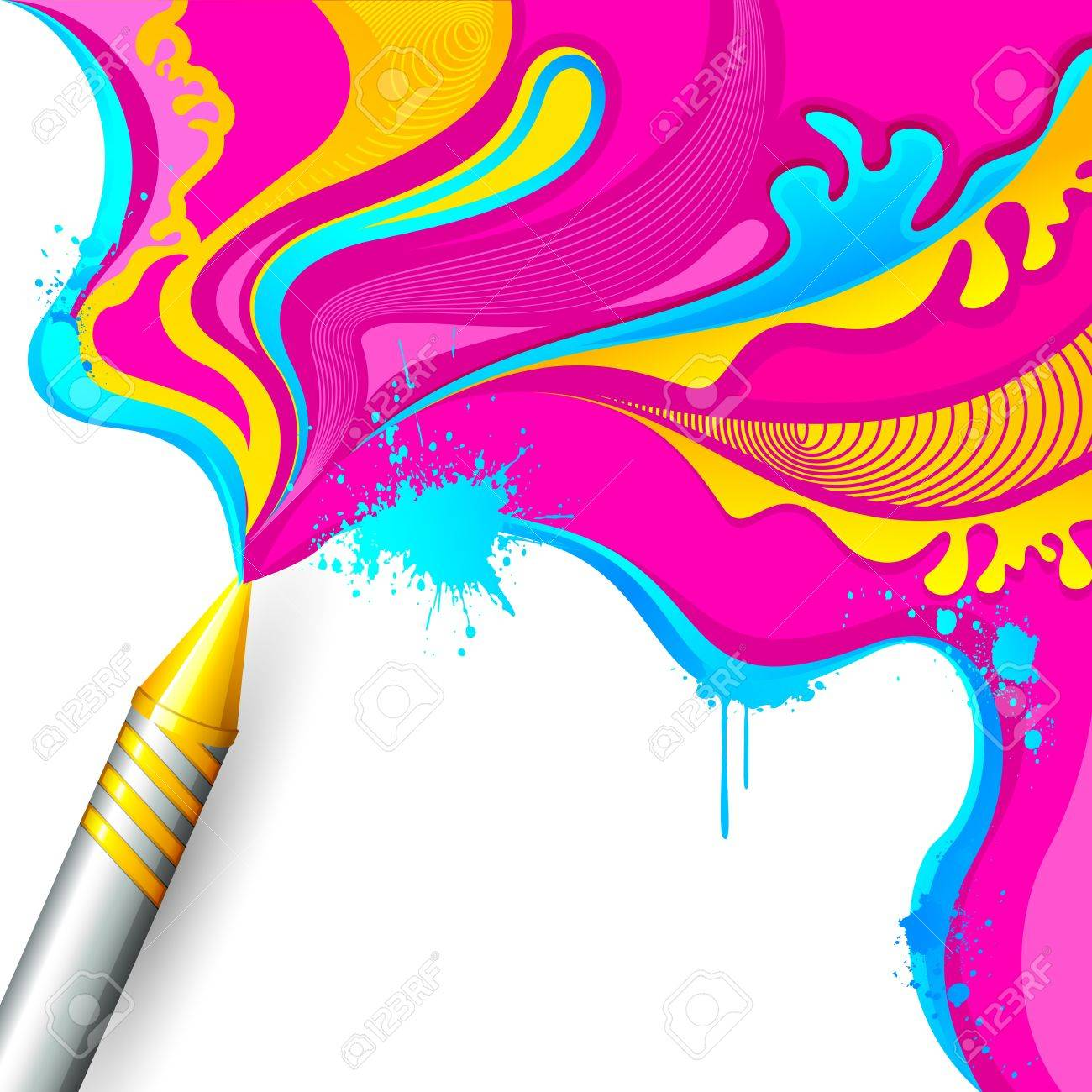 illustration of colorful splash coming out from pichkari in Holi background Stock Vector - 18440486