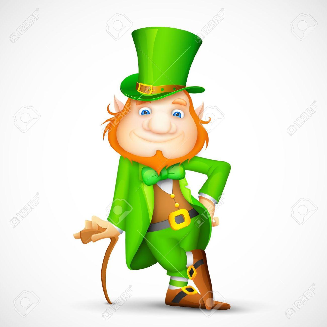 illustration of leprechaun with walking stick for saint patrick
