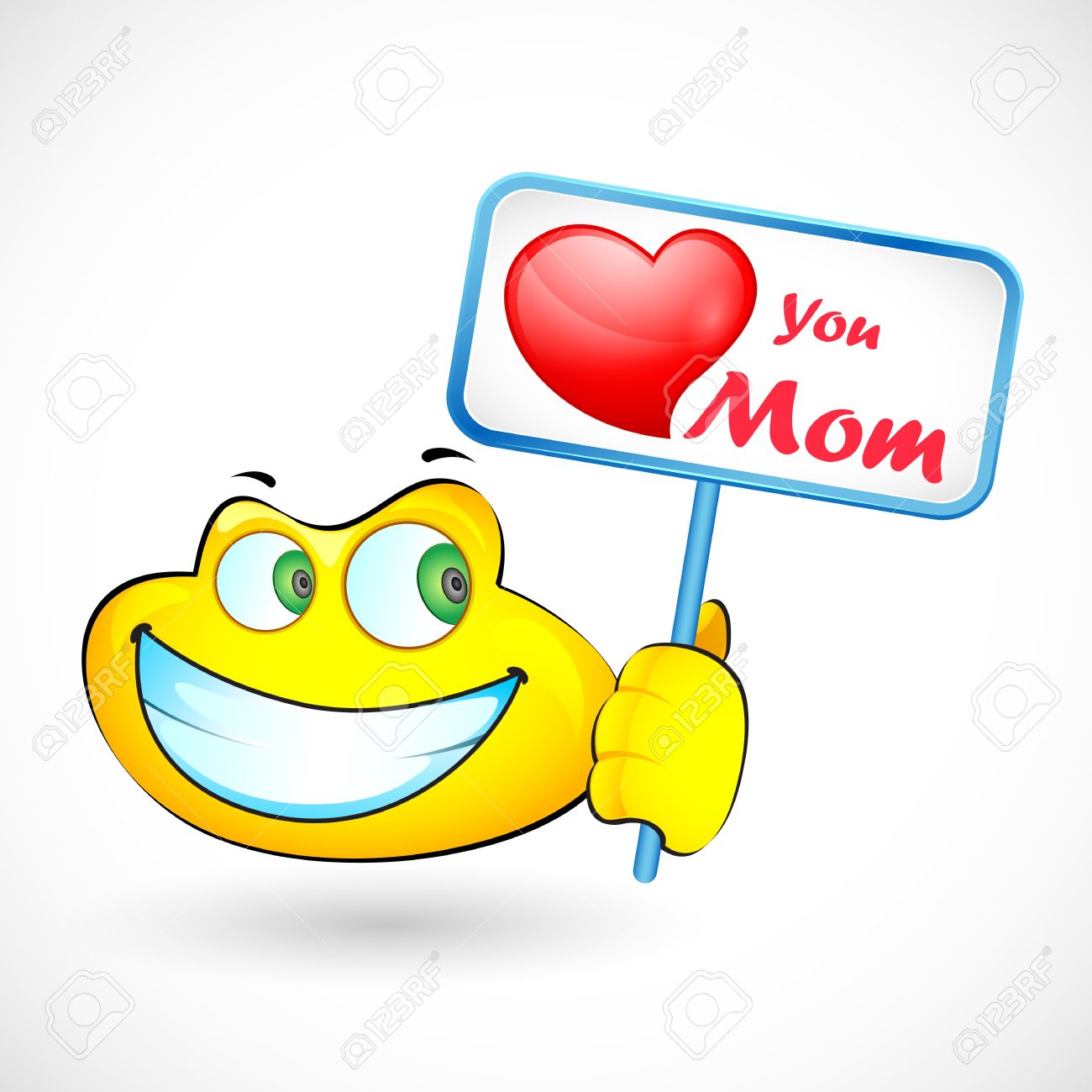 illustration of smiley holding Love You Mom message Stock Vector - 18960227