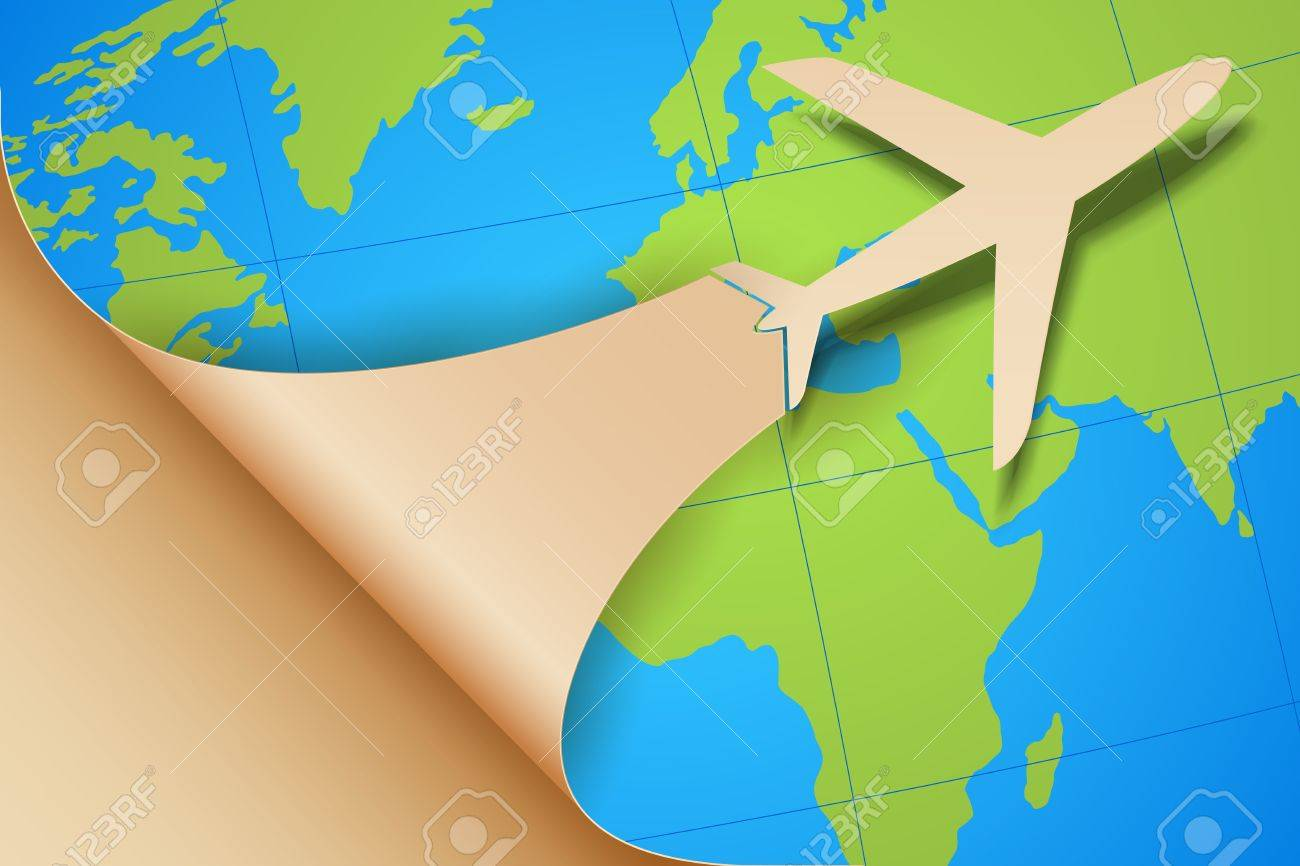 Illustration Airplane Taking f Earth Map Royalty Free