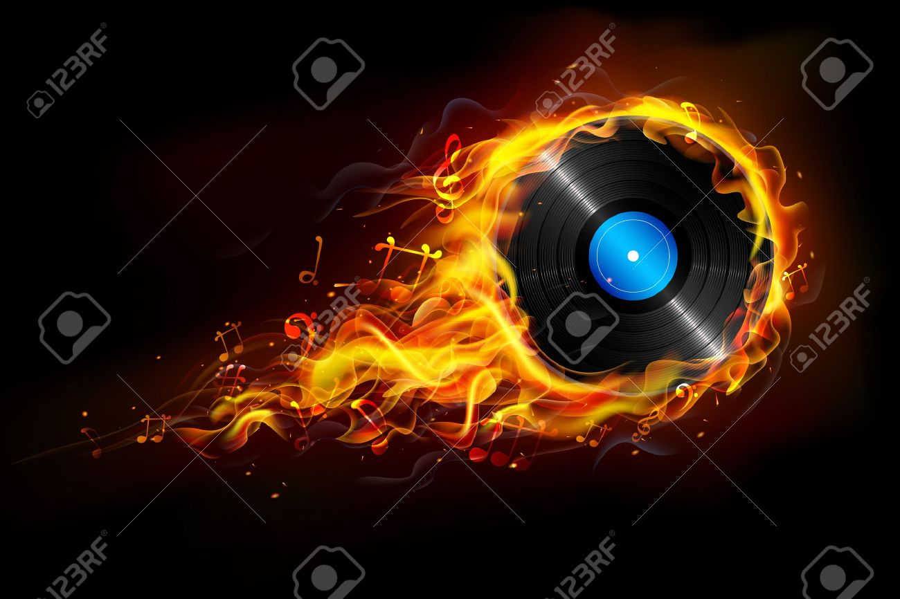 illustration of disc in fire flame for sizzling music background Stock Vector - 19244881