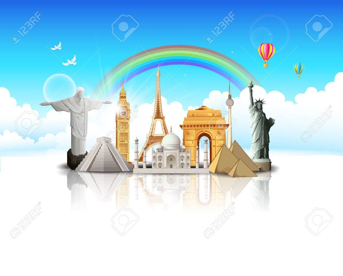 illustration of world famous monument in cloudscape for travel concept Stock Vector - 19372281