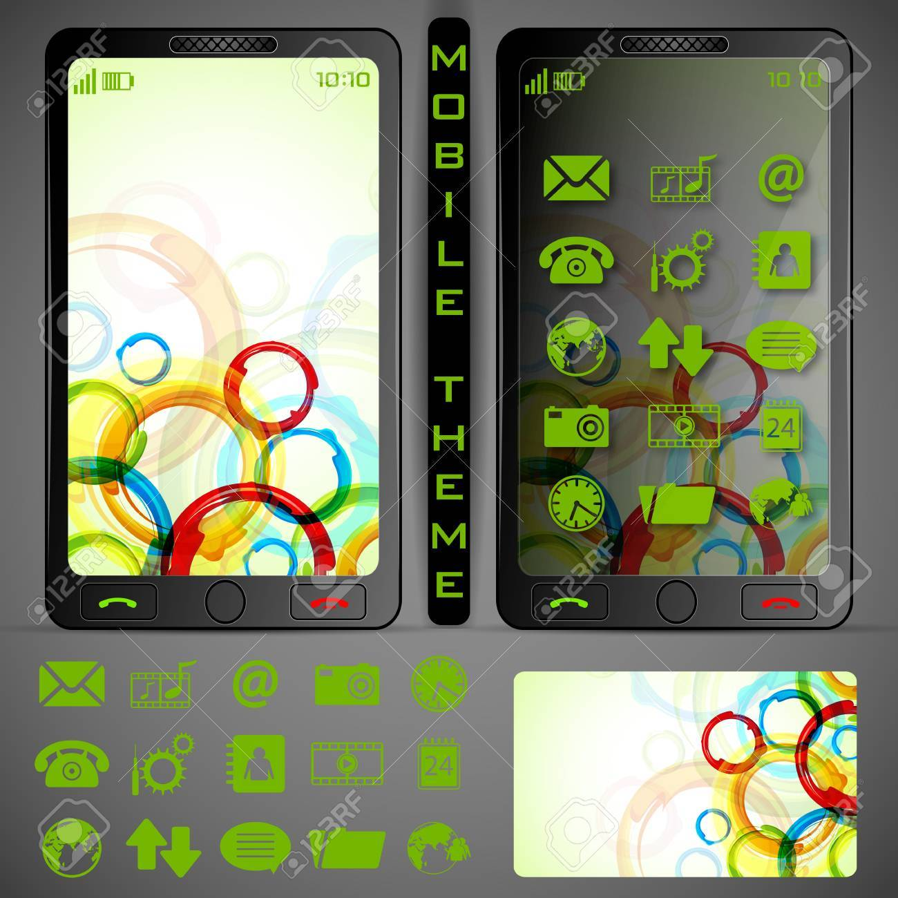 illustration of mobile phone theme with colorful background and application button Stock Vector - 19694493