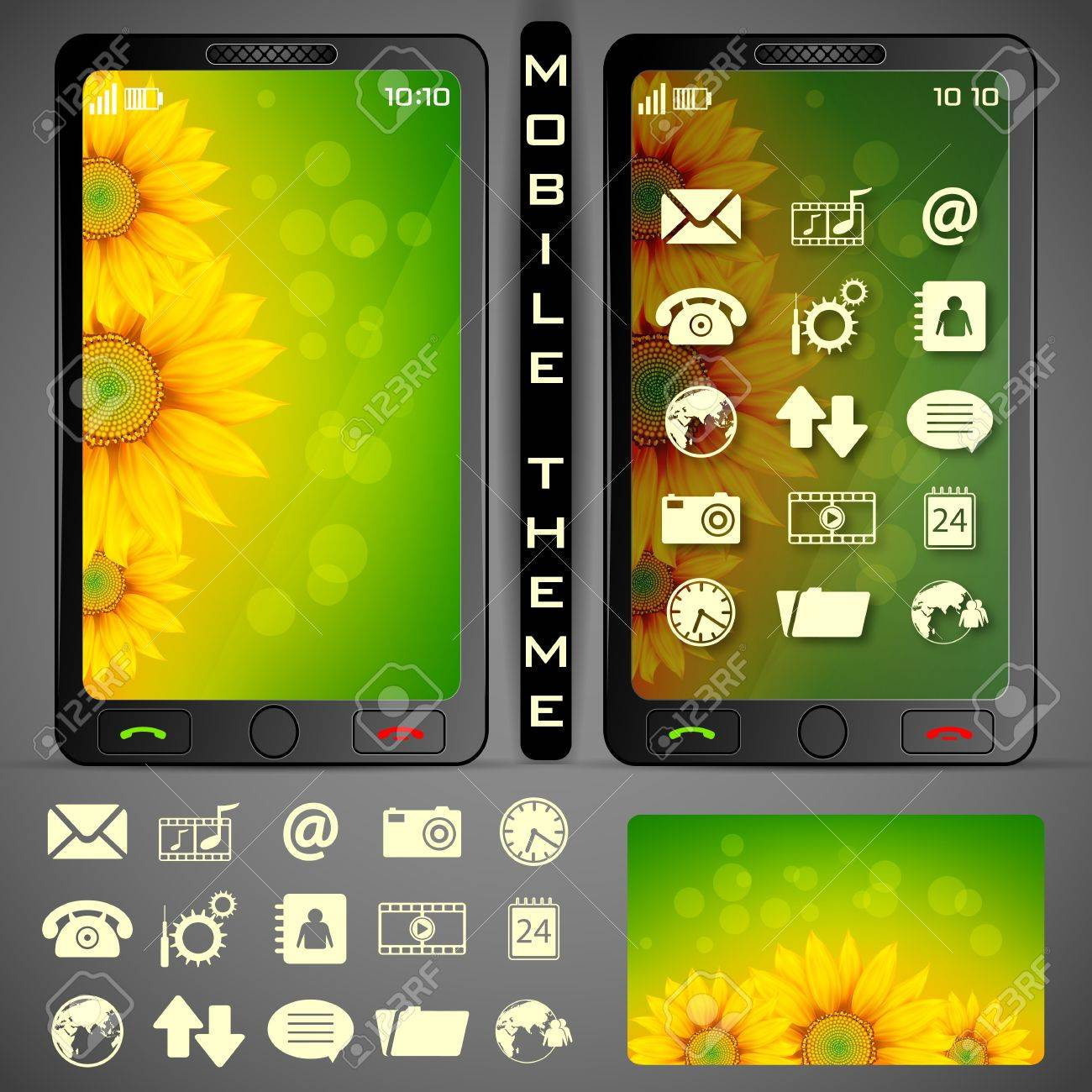 illustration of mobile phone theme with colorful background and application button Stock Vector - 19694419