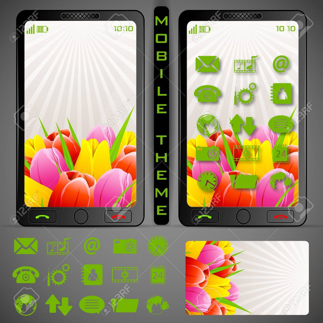 illustration of mobile phone theme with colorful background and application button Stock Vector - 19694512