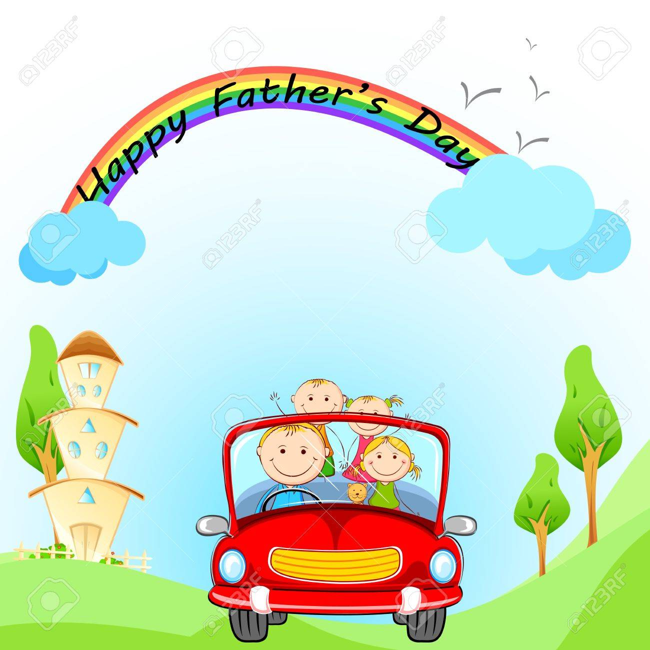 illustration of family traveling in car on Father s Day Stock Illustration - 19927628