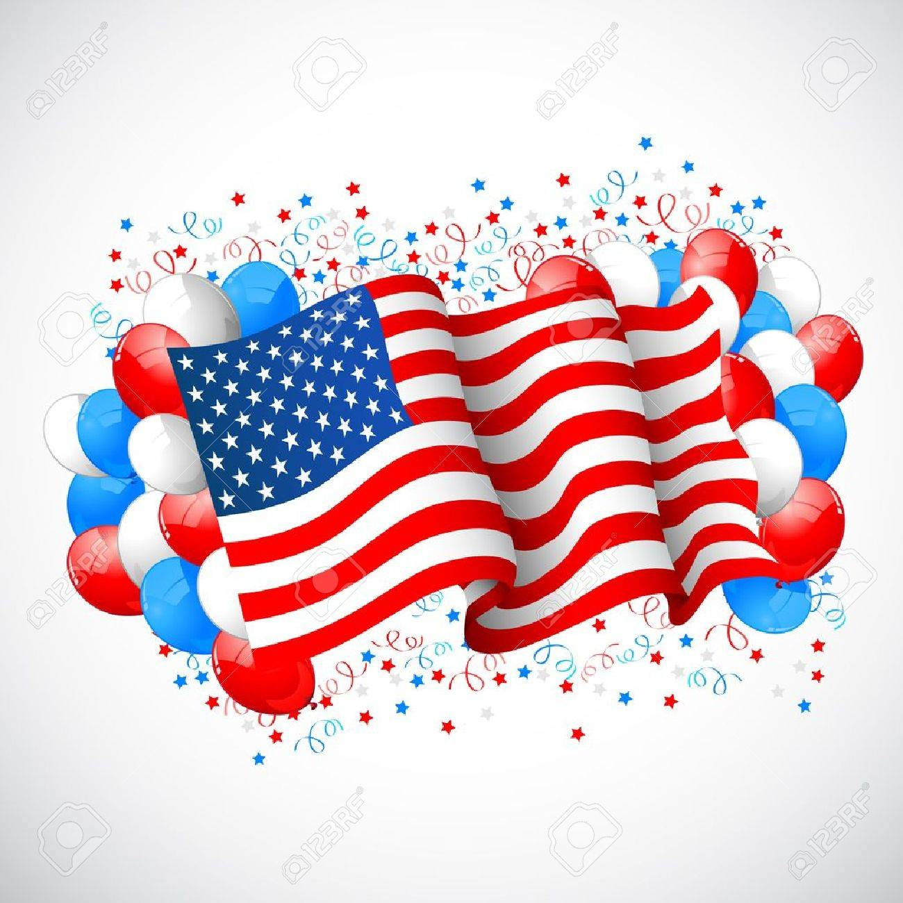 illustration of colorful balloon with American flag for Independence Day Stock Vector - 20138042