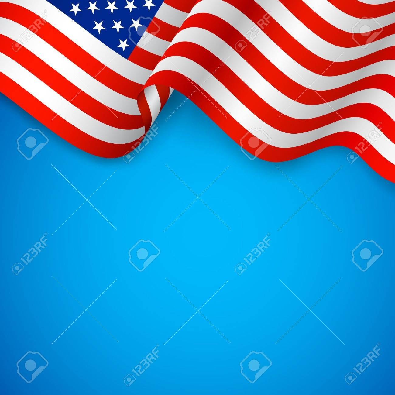 illustration of wavy American Flag for Independence Day Stock Vector - 20138034