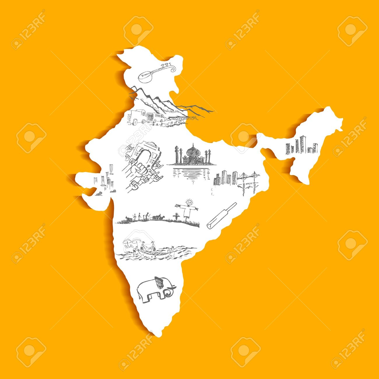 Illustration Of Indian Map With Culture Doodle Royalty Free - India map vector