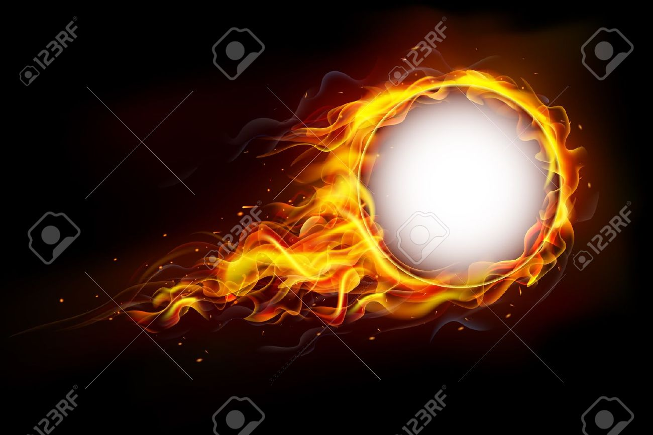 illustration of fire flame in circular frame with musical notes - 20922670