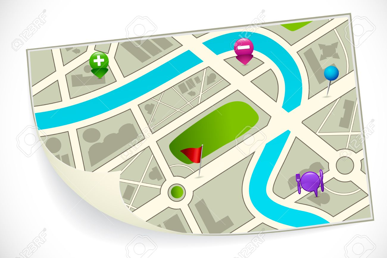 Illustration Of Road Route Map With Gps Icon Photo Picture – Road Route Map