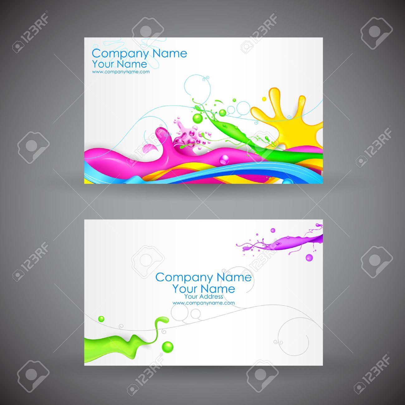 Illustration Of Front And Back Of Corporate Business Card With ...