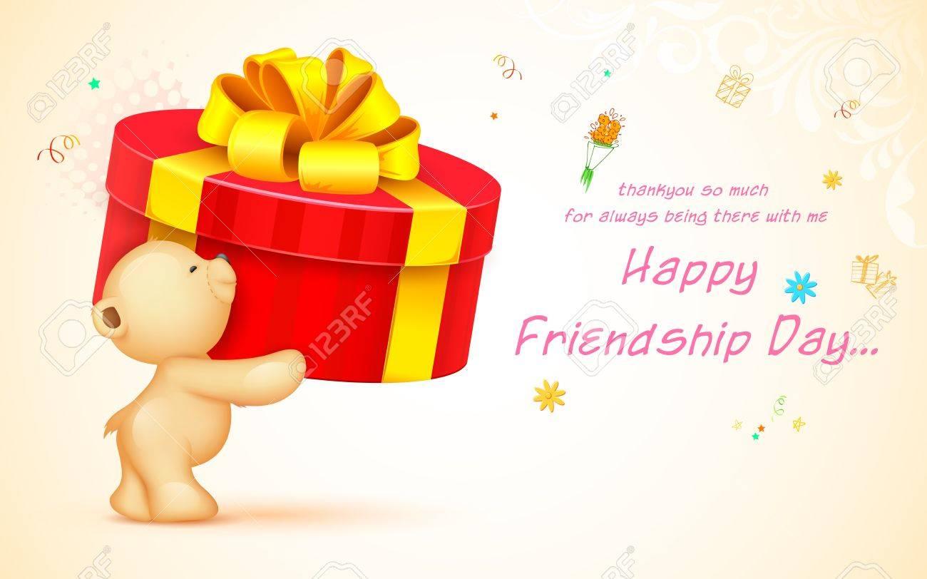 Illustration   Illustration Of Cute Teddy Bear Wishing Happy Friendship Day