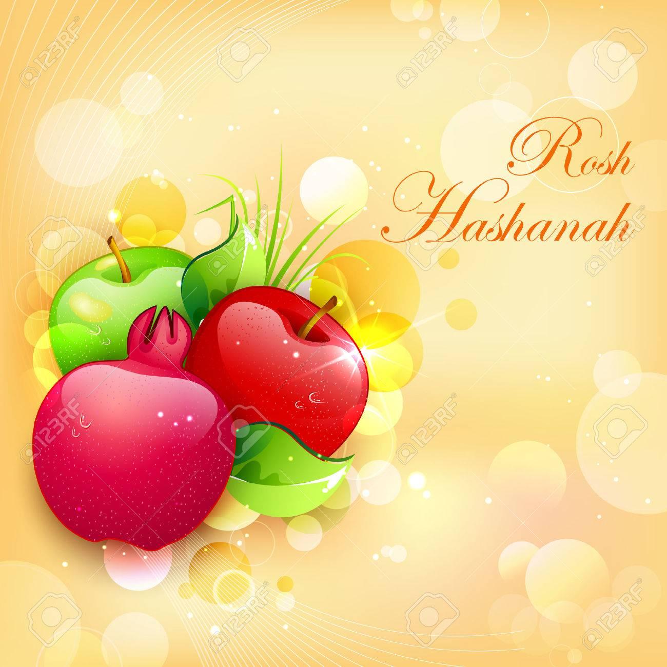 Rosh hashanah stock photos royalty free business images illustration of rosh hashanah background with pomegranate and apple kristyandbryce Choice Image