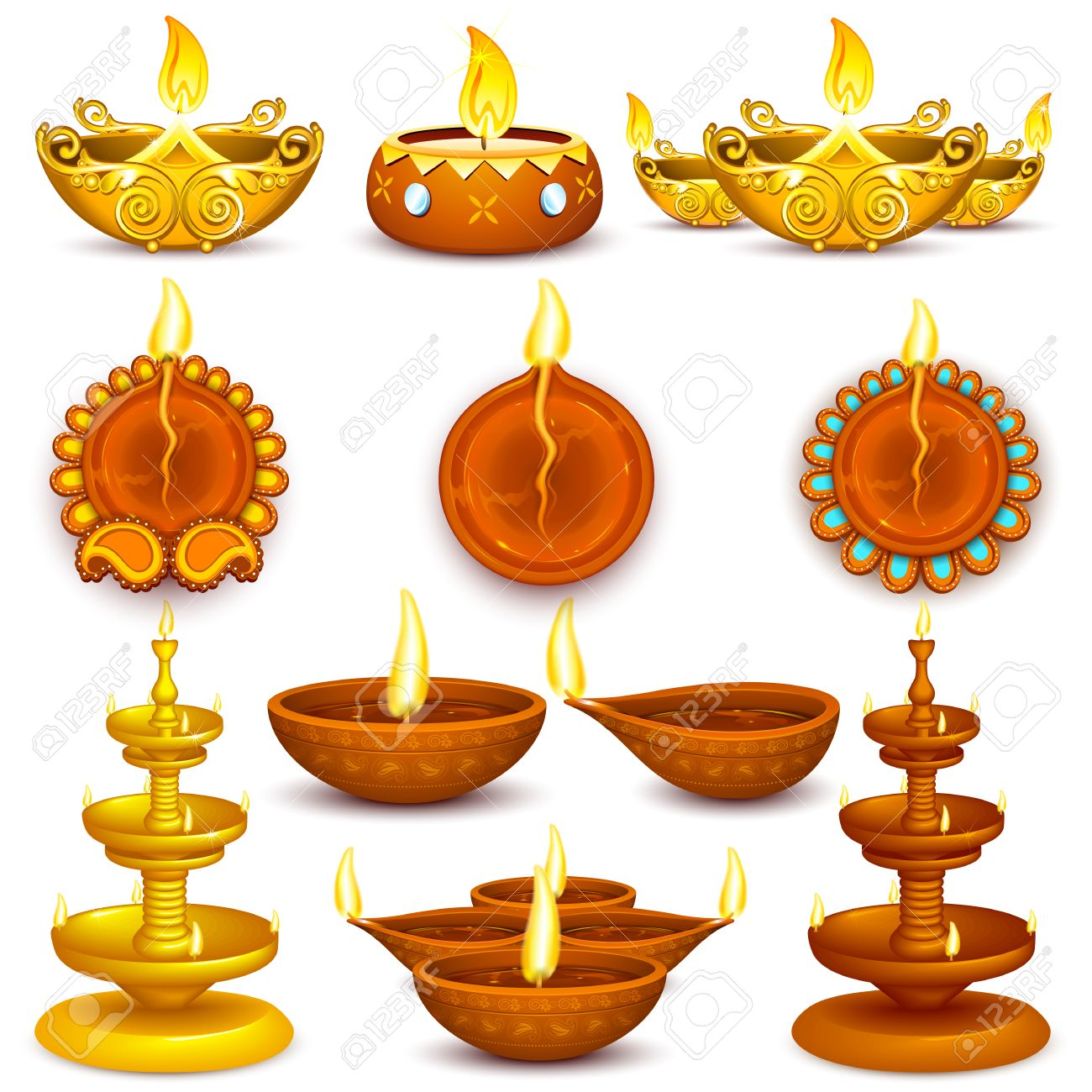 Illustration Of Collection Diwali Decorated Diya Stock Vector