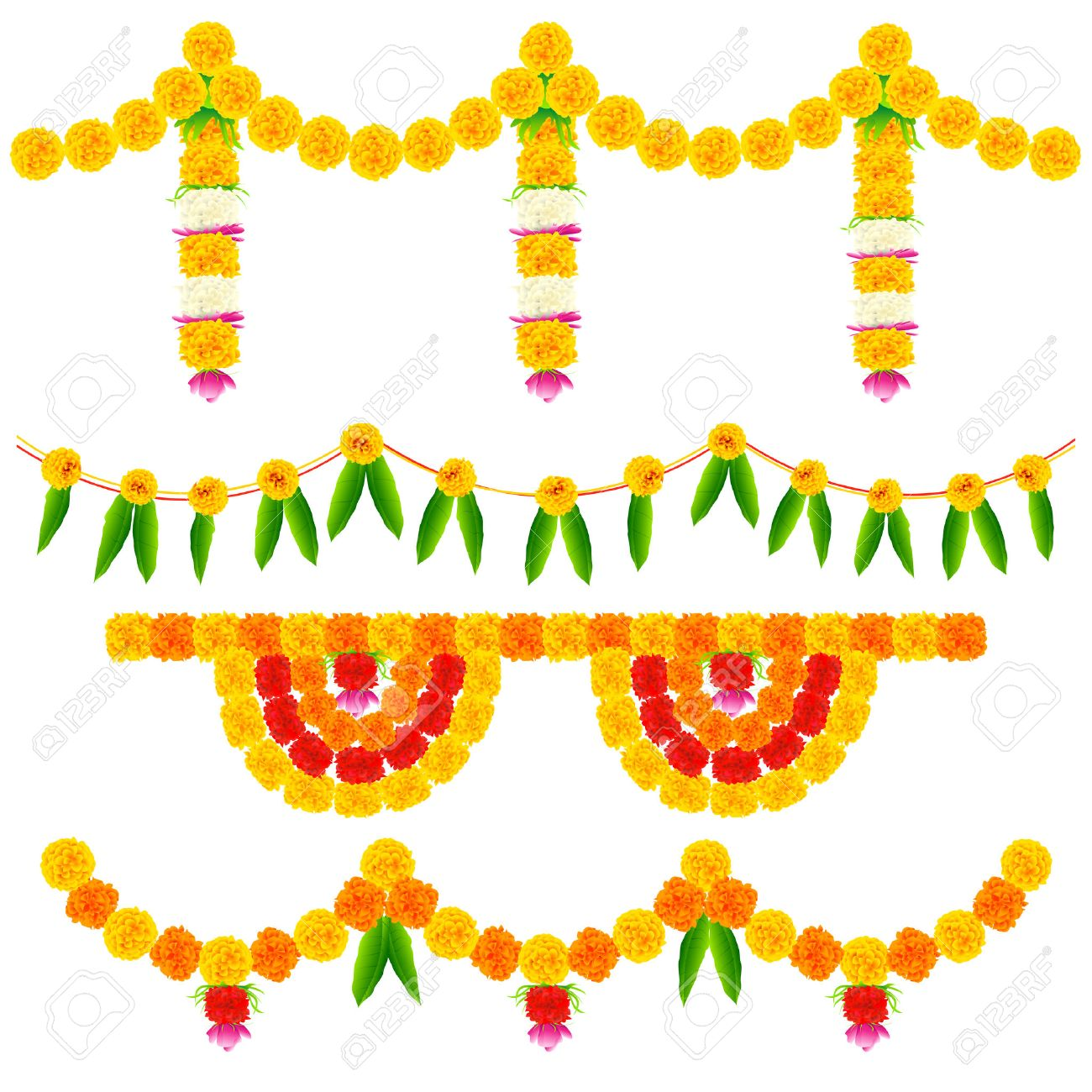 Indian Festival Decoration Illustration Of Colorful Flower Arrangement For Festival