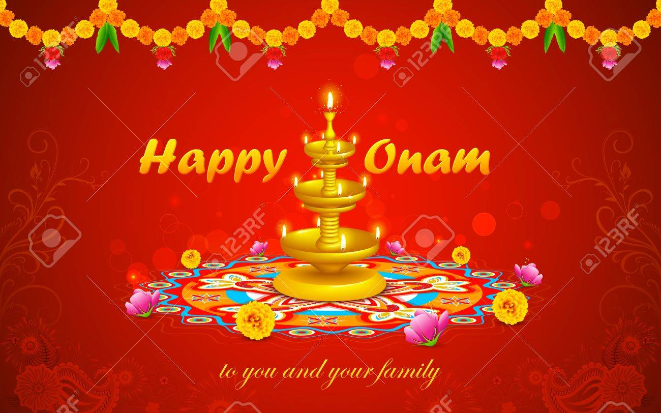 illustration of happy onam decoration with diya and rangoli stock vector 25736951