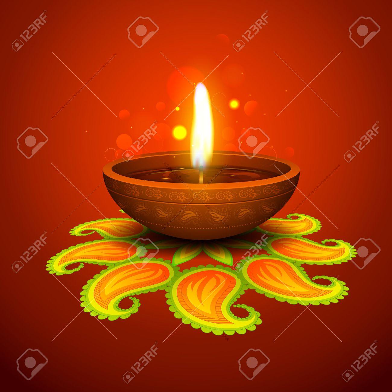 Illustration Of Burning Diya On Diwali Holiday Background Royalty ...