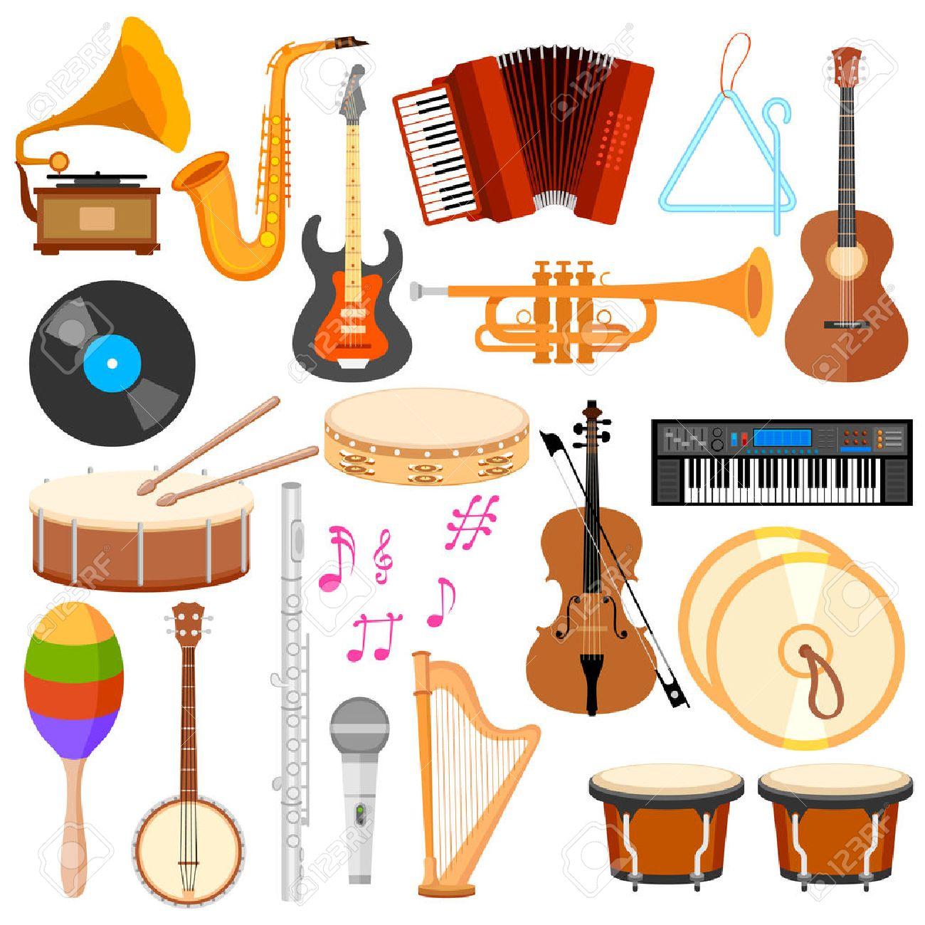 illustration of music instrument in flat style - 30027985