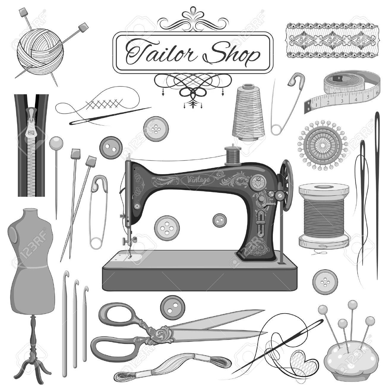 illustration of set of vintage sewing and tailor object - 30027995