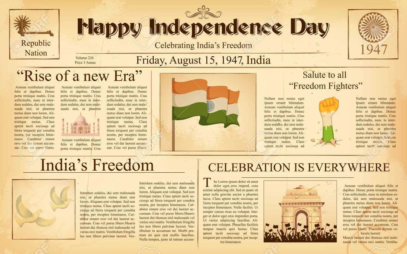 Illustration Of Vintage Newspaper For Happy Independence Day