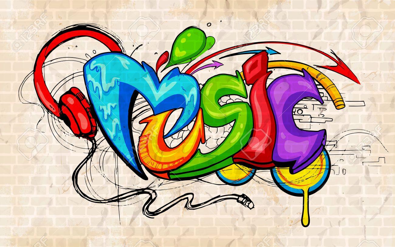 illustration of music background graffiti style royalty free