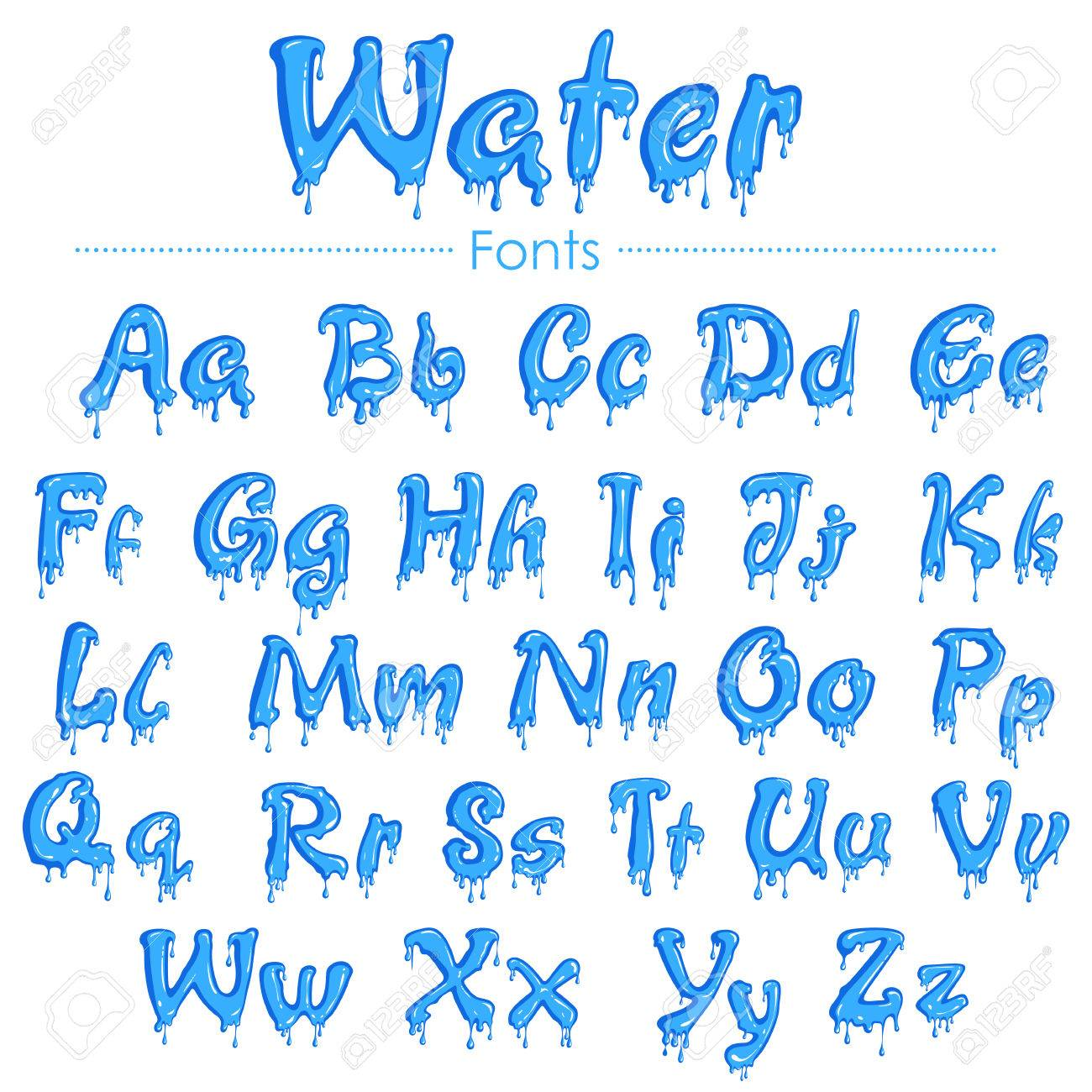 Color art tipografia - Vector Illustration Of English Font In Water Texture