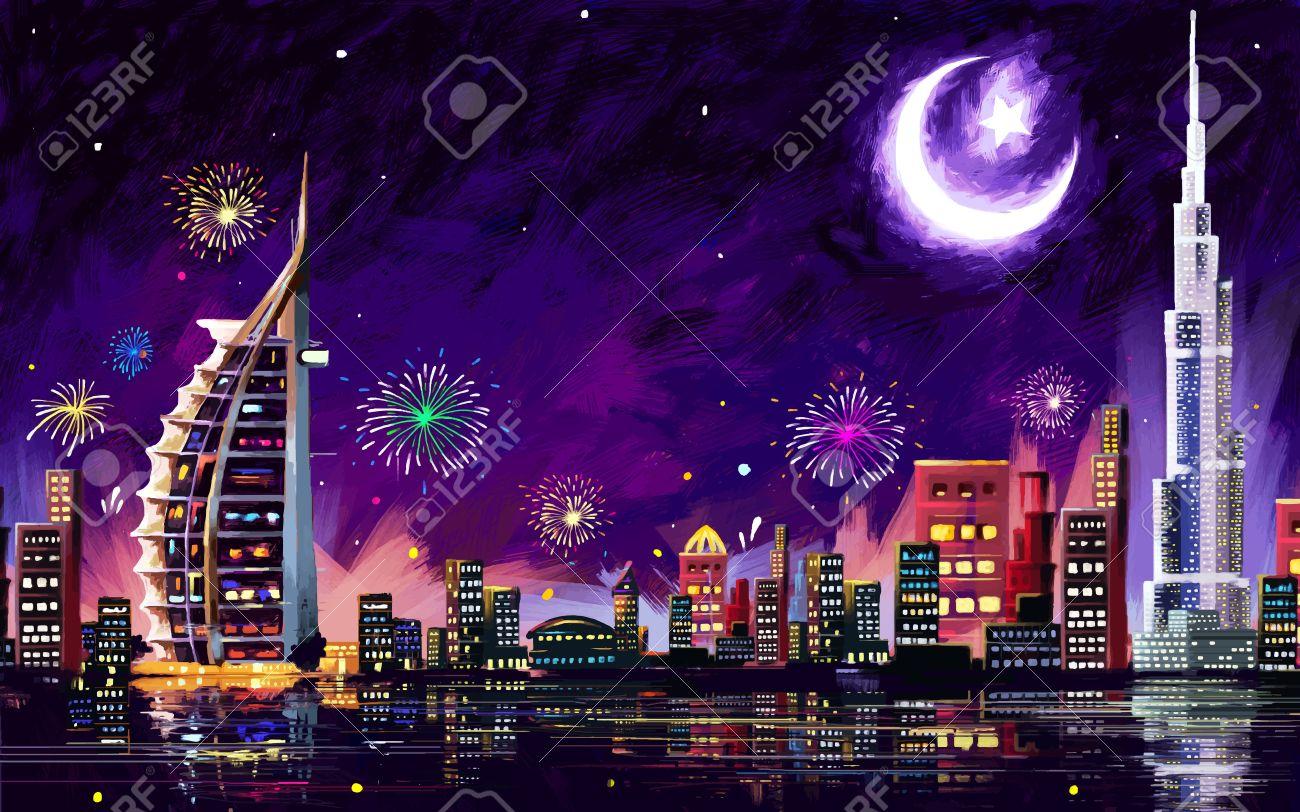 illustration of Eid Celebration Dubai city nightscape Stock Vector - 40919513