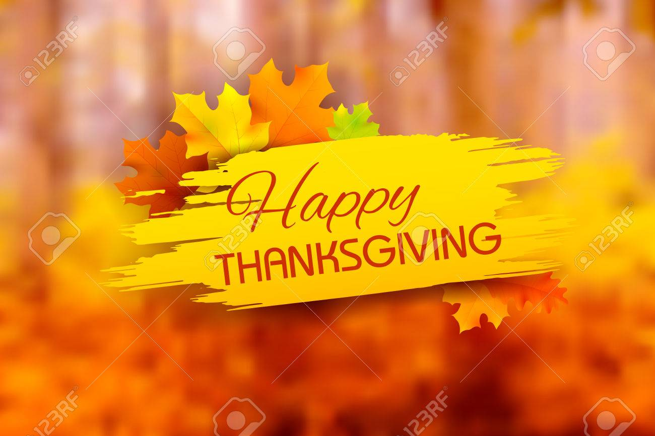 illustration of Happy Thanksgiving background with maple leaves - 48346712