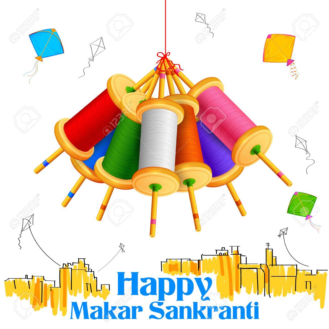 illustration of Makar Sankranti wallpaper with colorful kite string spool - 50223521