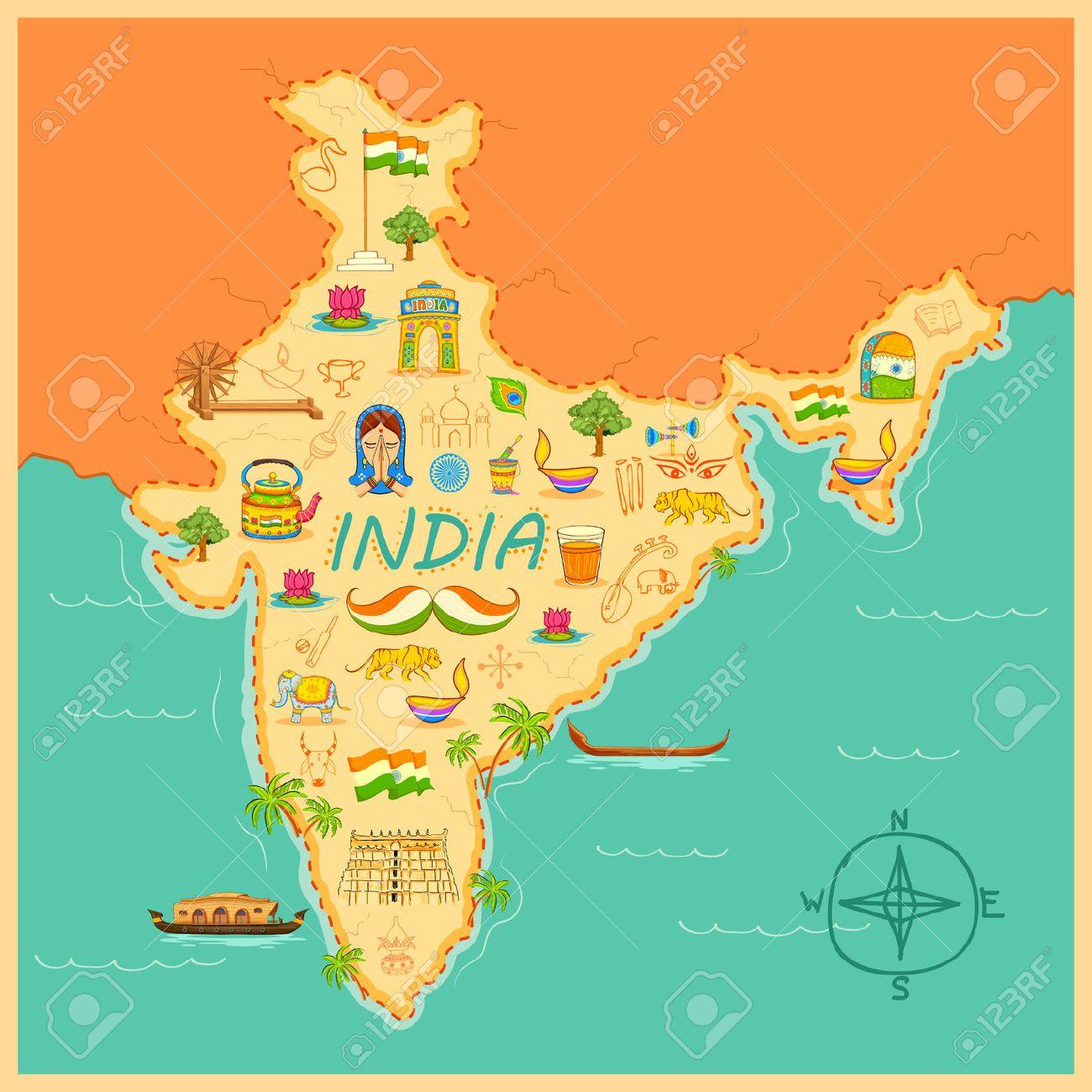 Ilustración De Arte Kitsch De Formar Un Mapa De La India Fotos ...