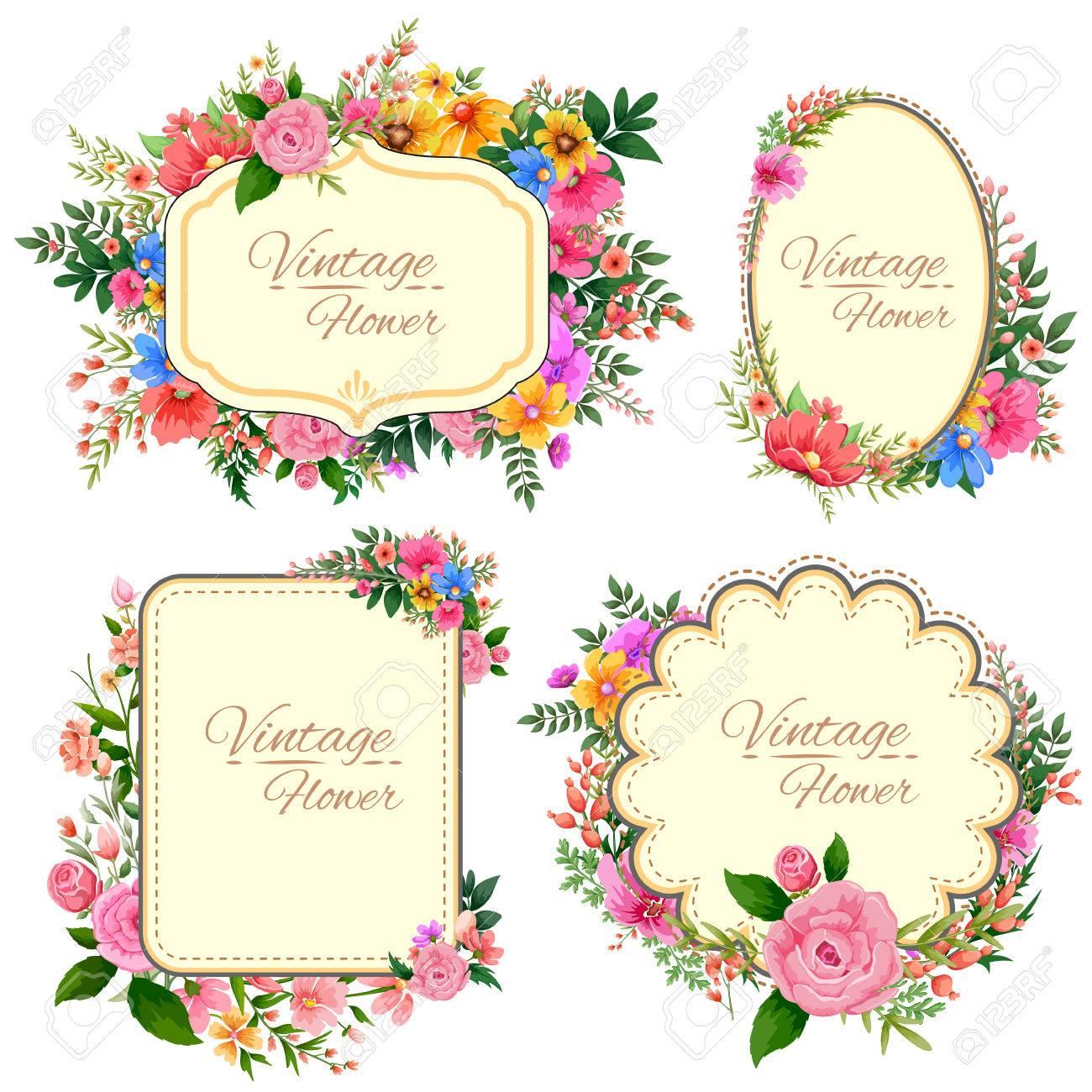 illustration of watercolor Vintage floral frame - 53411925