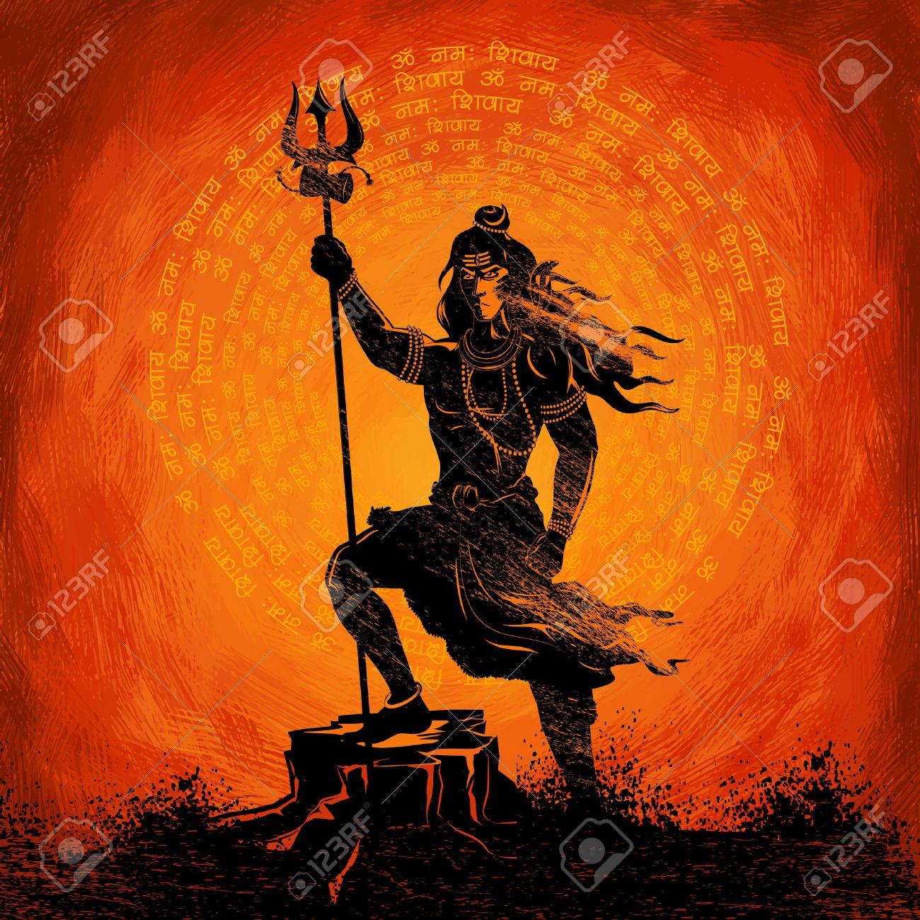 illustration of Lord Shiva, Indian God of Hindu with message
