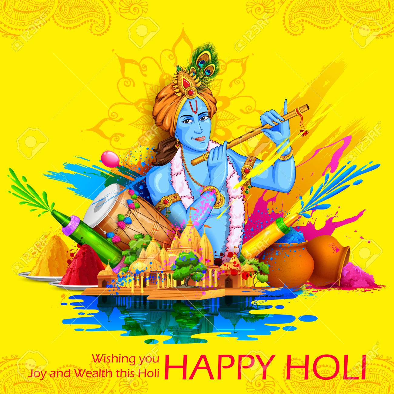 happy holi krishna wallpaper