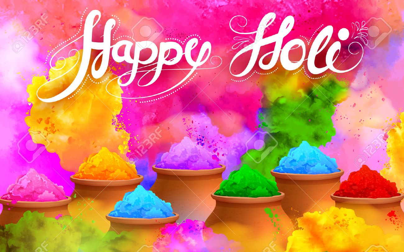 Illustration Of Colorful Gulaal Powder Color For Happy Holi