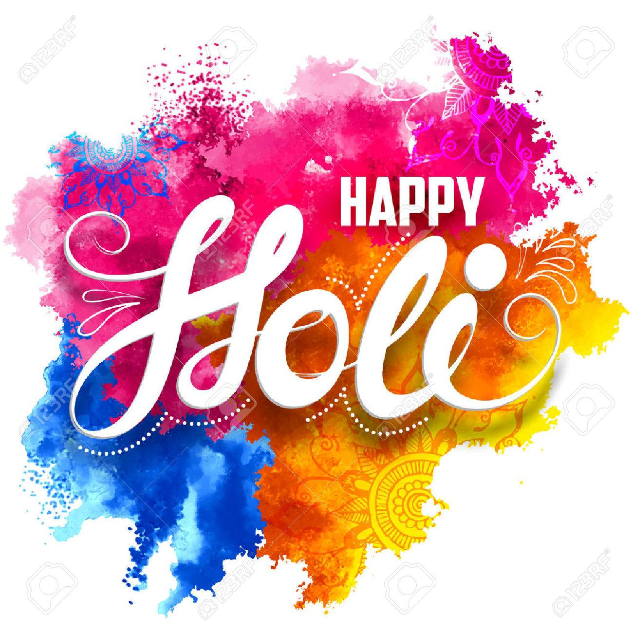 illustration of abstract colorful Happy Holi background - 53412213