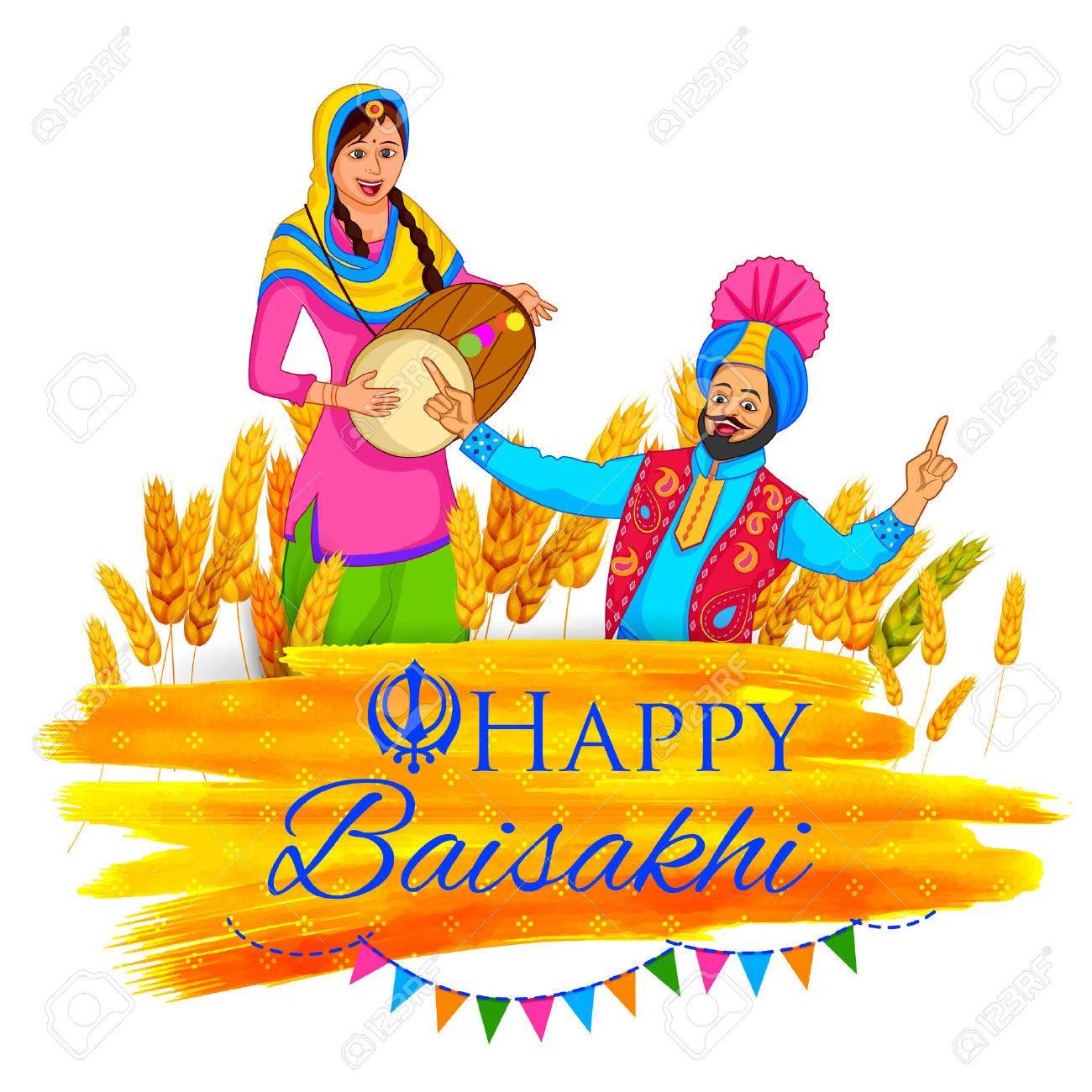 illustration of Punjabi New Year Happy Baisakhi background - 55670793