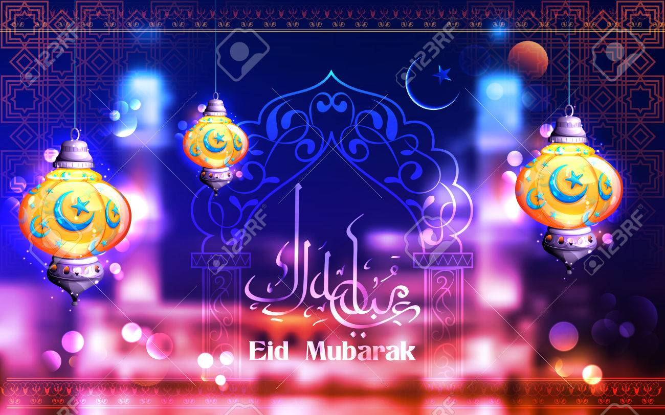 Eid mubarak happy eid greeting in arabic freehand with illuminated eid mubarak happy eid greeting in arabic freehand with illuminated lamp stock vector 59254014 kristyandbryce Image collections