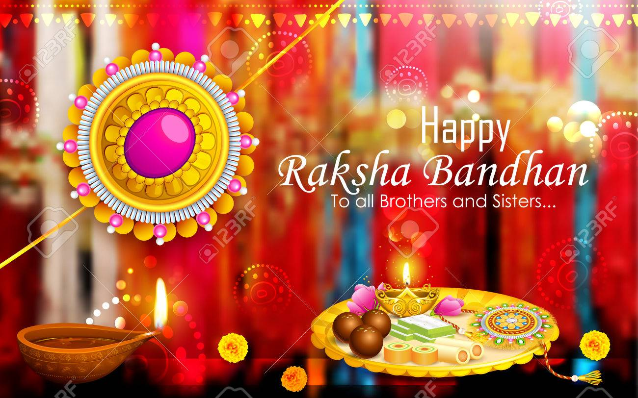 Indian Festival Decoration Illustration Of Decorative Rakhi For Raksha Bandhan Indian