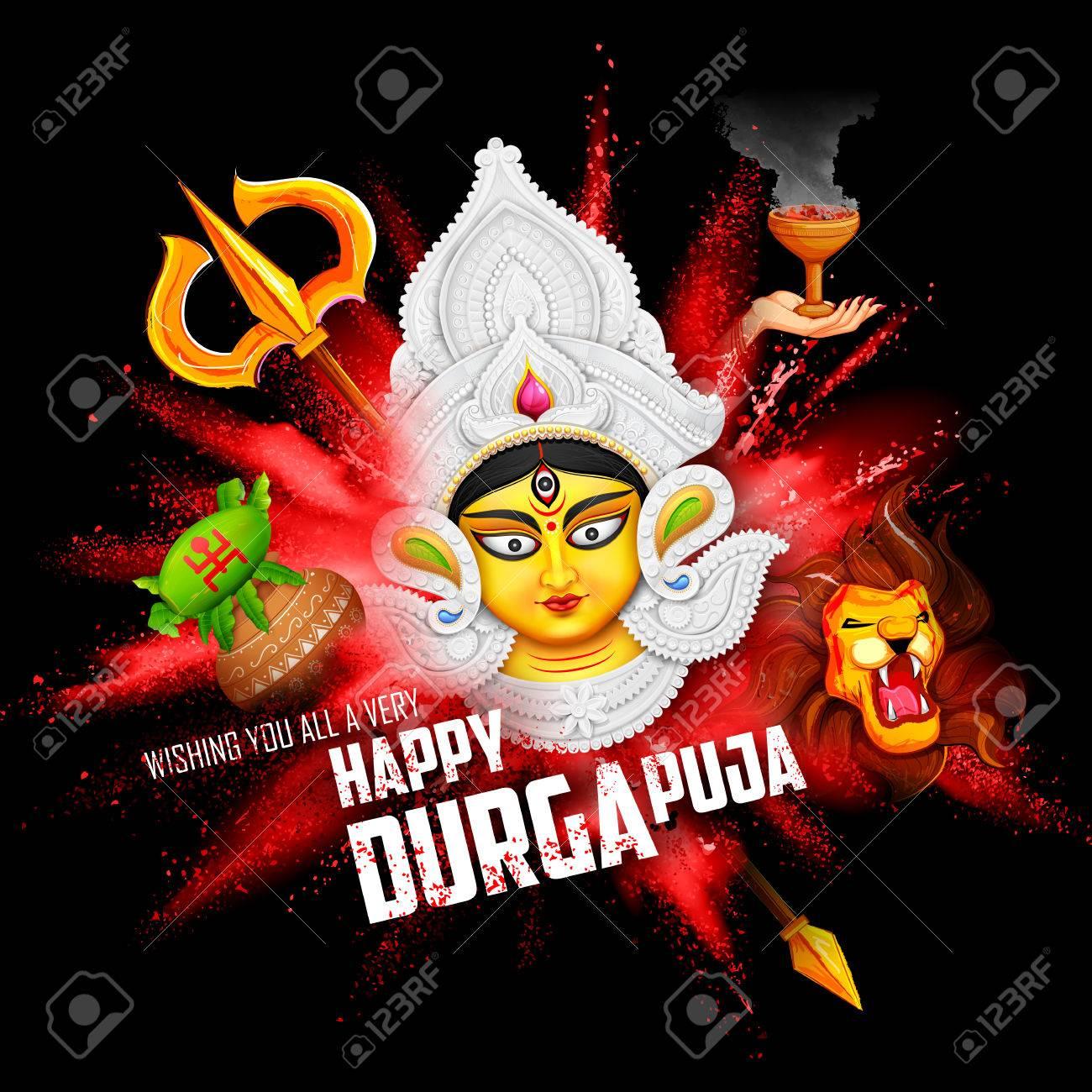 Illustration Of Goddess Durga In Subho Bijoya Happy Dussehra