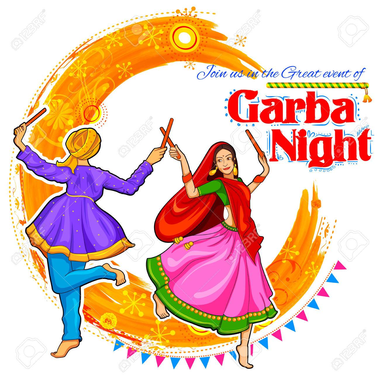 illustration of couple playing Dandiya in disco Garba Night poster for Navratri Dussehra festival of India - 66603716