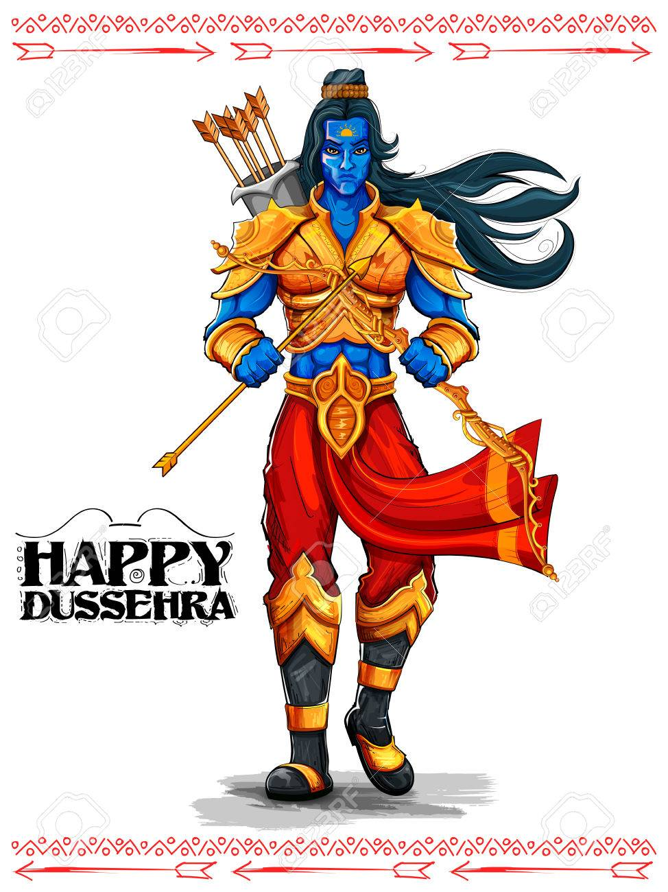 illustration of Lord Rama with arrow in Dussehra Navratri festival of India poster - 66763506