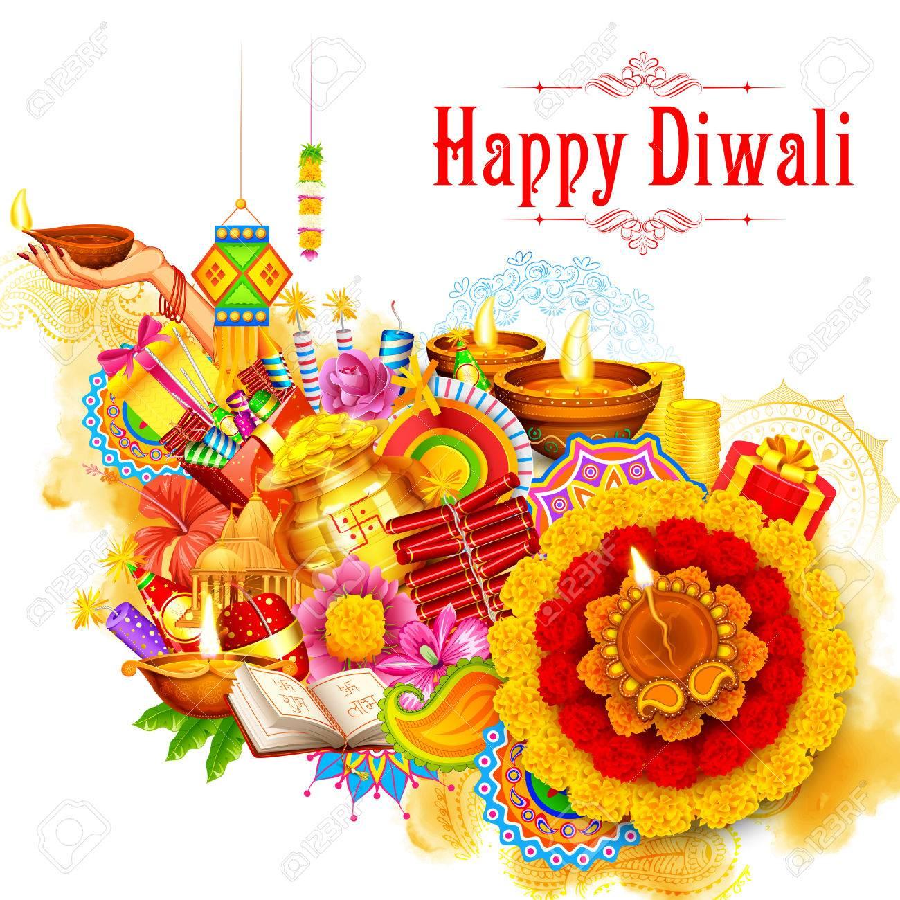 illustration of burning diya on Happy Diwali Holiday background for light festival of India - 67482107