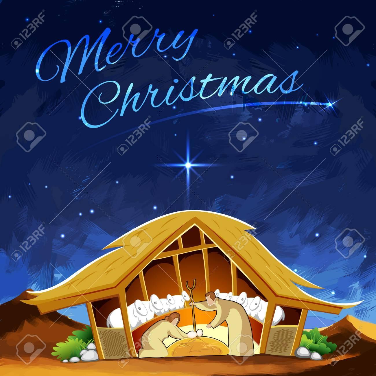 Immagini Natale Presepe.Illustrazione Del Presepe Che Mostra La Nascita Di Gesu A Natale