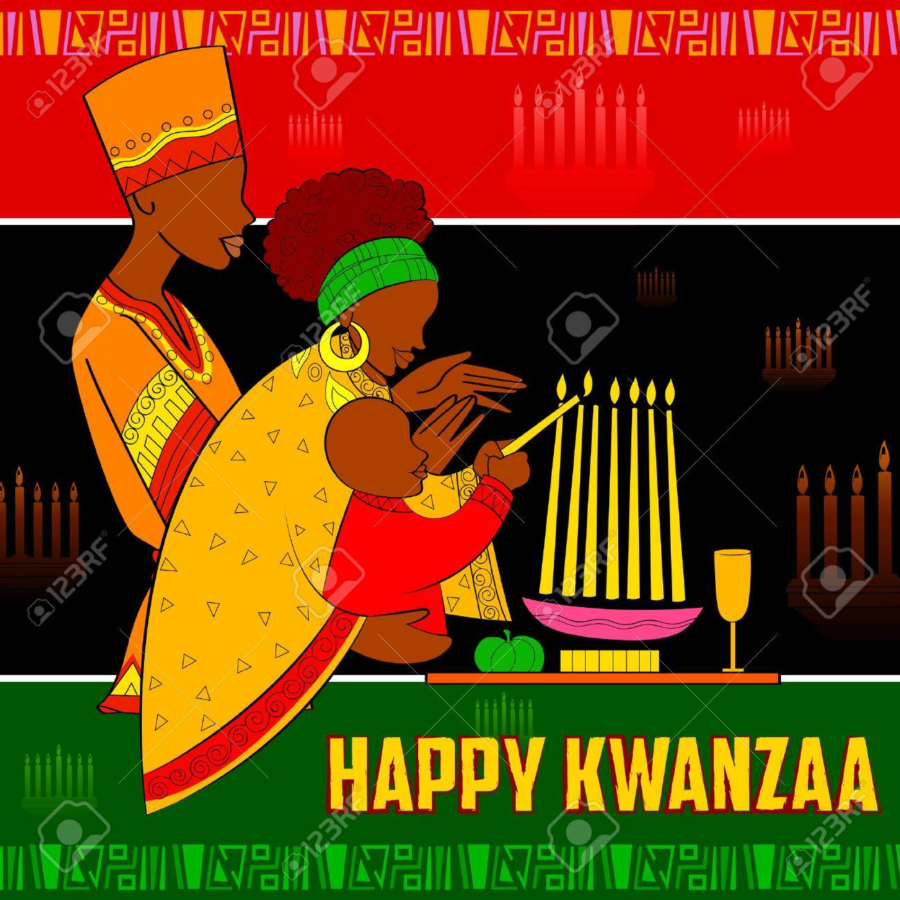illustration of Happy Kwanzaa greetings for celebration of African American holiday festival of harvest - 68044912